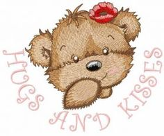 Bear girl hugs and kisses embroidery design. Machine embroidery design. www.embroideres.com
