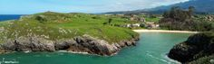 To the right we have the beach and village of Poo in Llanes, Asturias, Spain. Picture taken from the E-9 footpath that closely follows the coastline of Llanes, from Celorio to Poo.