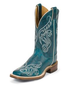 Justin Bent Rail Turquoise Damiana Cowgirl Boots - Square Toe. I NEED these