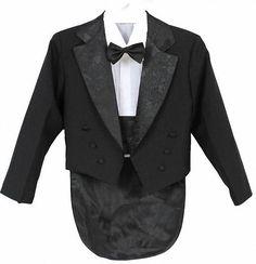 Baby Toddler Boy Kid Dark Gray Wedding Formal Party Tuxedo Suit Dot Necktie S-20