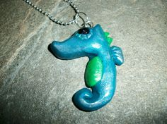 Sea Horse Charm Necklaces in Metallic Blue and by moonknightjewels, $9.95