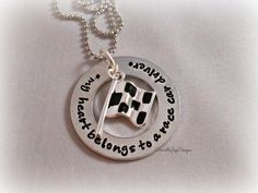 My Heart Belongs To A Race Car Driver Stamped Personalized Custom Necklace MOTHERS DAY on Etsy, $33.00