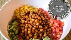 Salade de quinoa tex mex - Auboutdelalangue.com Tex Mex, Pesto, Sauce Crémeuse, Beignets, Dessert Recipes, Desserts, Tasty Dishes, Chana Masala, Cubes