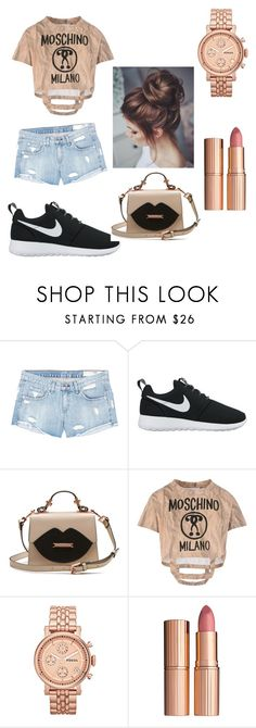"""""""sport spring outfit🌸🌹💐"""" by kaja-232 ❤ liked on Polyvore featuring rag & bone/JEAN, NIKE, Moschino, FOSSIL and Charlotte Tilbury"""