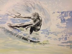 kitesurfer, watercolour, 2014,  www.ojam.eu Painting Styles, Fashion Painting, Kite, Watercolour, Surfing, Paintings, Self, Paint, Draw