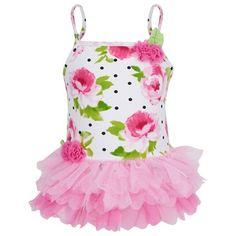 Rose Print Tutu Swimsuit