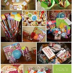 Notice the party favors for this Candy Land birthday party. Big pixie sticks with a toothbrush from the a dollar store tied to it. Perfect.