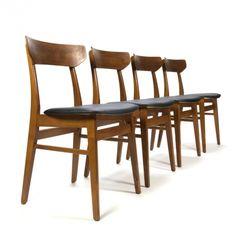 Set van 4 vintage Deense teakhouten eettafel stoelen