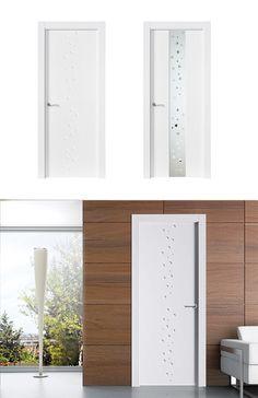 Puerta de Interior Blanca   Modelo Miró de la Serie Lacada de Puertas Castalla. Puerta Lacada blanca