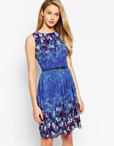 Little+Mistress+Belted+Skater+Dress+With+Floral+Border+Print