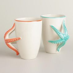 LOVE THESE!!!!!!!!!!!!!!!!!!! One of my favorite discoveries at WorldMarket.com: Starfish Mugs, Set of 2