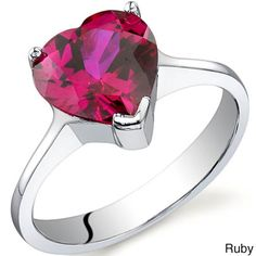Oravo Sterling Silver Gemstone Heart-cut Solitaire Ring