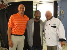 Chef Jim on the TV commercial set with Brian Hoyer and one of our actors.