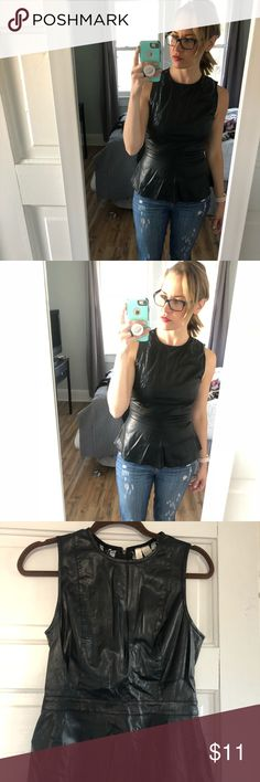 Faux leather & lace peplum top / pleather Faux leather & lace peplum top / pleather. Super cute lace detail on back Forever 21 Tops Blouses