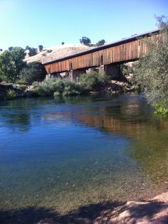 California's Knight's Ferry Bridge, one of only 12 covered bridges remaining in California. Built in 1863.