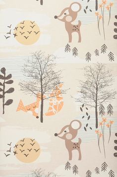£29.25 Price per roll (per m2 £5.52), Kids wallpaper, Carrier material: Non-woven wallpaper, Surface: Smooth, Look: Matt, Design: Trees, Flowers, Foxes, Deer, Basic colour: Cream, Light brown beige, Pattern colour: Pale brown, Grey brown, Pastel orange, Pastel turquoise, Characteristics: Good lightfastness, Low flammability, Strippable, Paste the wall, Wash-resistant