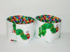 Small Fabric Baskets- Organizer Bins- The Very Hungry Caterpillar