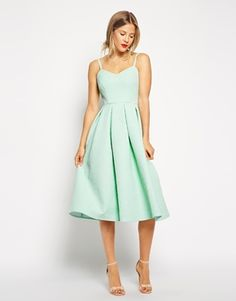 ASOS Midi Skater Dress in Bonded Texture   love the color, love the length, everything. and her shoes!