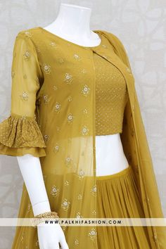 Mustard gold pure georgette jacket style indian outfit with blouse & splitted full flair skirt,thread work jacket. pure chiffon dupatta Source by . Indian Fashion Dresses, Indian Gowns Dresses, Dress Indian Style, Indian Designer Outfits, Indian Outfits, Fashion Outfits, Pakistani Dresses, Sleeves Designs For Dresses, Fancy Blouse Designs