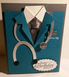 A Special Cut-out Shape Card to resemble a Coat with a stethoscope around tbe collar, complete wth tbe name of the physician. All products used are by Stampin' UP! Made to order. For additional card ideas & to purchase SU supplies, please visit my website at www.stampinup.net/esuite/home/suzy-q/