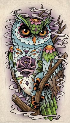 Owl Tattoo Flash Art  purple rose
