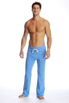 Eco-Track Pants for Yoga (Ice Blue). Organic Yoga Pant for men | Made in USA