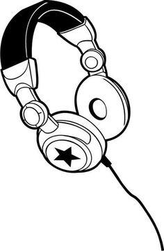 großer Kopfhörer, schwarz,