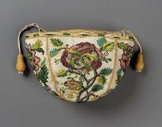Round drawstring bag French ca. 1700-1725