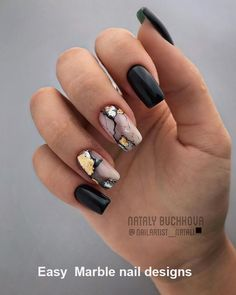Marble nails are a kind of nail art design which imitates the appearance of marble. Everyone can create this nail style on their own nails, or specialize it to achieve better results. Marble nails have become more and more popular in recent years, an Foil Nail Designs, Marble Nail Designs, Marble Nail Art, Black Nail Designs, Acrylic Nail Designs, Shellac Nail Designs, Square Nail Designs, Matte Black Nails, Black Nail Art