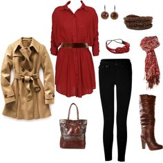 Red and brown, created by kristen-344 on Polyvore