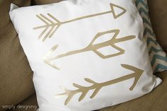 Gold vinyl throw pillow
