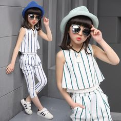 Girls clothing sets 2019 summer fashion striped vest T-shirt pants two pieces kids tracksuit children clothing set kids clothes. Little Girl Fashion, Fashion Kids, Fashion Outfits, Suit Fashion, Dresses Kids Girl, Kids Outfits, Outfit Sets, Clothing Sets, Children Clothing