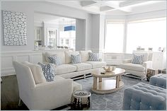 Madeline Weinrib Dusty Blue Brooke Chenille Metallic Carpet in a Sagaponack home, interior by Mabley Handler