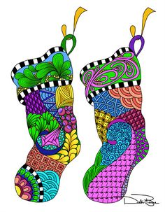 """Christmas Twist Stockings"" by Debi Payne Designs"