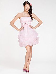 Ball Gown Strapless Short/ Mini Organza Bridesmaid Dress – USD $ 119.99