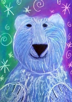 polar bear #BearHoliday LOVE this art project for my oldest and I to do together. We try to make at least one or two nice paintings every month to hang on the walls! January Art, Ecole Art, Art Lessons Elementary, Art Plastique, Pastel Gras, Classroom Art Projects, School Art Projects, Art Classroom, Bear Watercolor