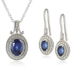 Amazon.com: Sterling Silver Created Sapphire Earrings and Pendant Necklace Jewelry Set: Jewelry