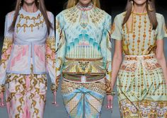 Manish Arora S/S 2013- Embellished Jewel pattern prints – Bracelets and Necklaces visuals- Photo-Printed patterns – Tiger and Temple Visuals – Ornate & Decorative – Ceramic Painted Imagery – Indian and Middle Eastern pattern plays