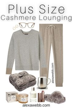 Plus Size Luxury Loungewear Outfit with Cashmere Crewneck Sweater and Cashmere Joggers with Fuzzy Slippers - Alexa Webb #plussize #alexawebb