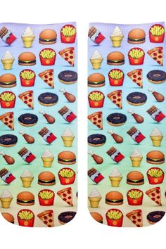 """Emoji printed socks that are unisex sizing. Printed on one side only.  Measures: 7.5"""" x 3""""  Food Emoji Anklesocks by Living Royal. Accessories - Socks Miami Florida"""