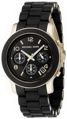 Watches: Michael Kors Quartz, Black Dial with Black Goldtone Bracelet - Womens Watch MK5191