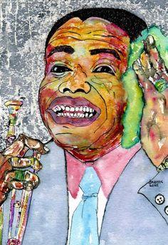 """Saatchi Art Artist CARMEN LUNA; Painting, """"5-Art TRAIL. Louis Armstrong."""" #art"""