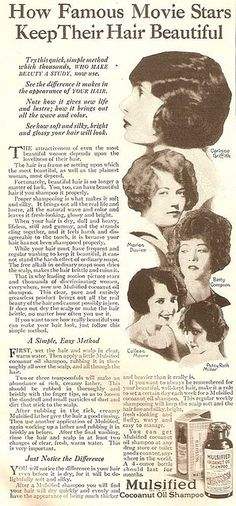 All the hottest actresses use Mulsified Cocoanut Oil Shampoo! Why, how else do you think Marion Davies gets her locks so silky?    From The American Magazine - April 1925     Start Burning Fat now, by eating the Right kinds of Food and Cut Out the 5 Foods never to eat.