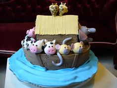 Noah's Ark Cake Noahs Ark Cake, Cute Cakes, Creative Cakes, Gum Paste, Cupcake Cakes, Cake Decorating, Birthday Cake, Baby Shower, Desserts