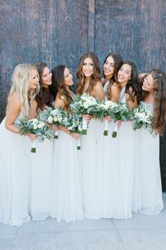 All white bridesmaids dresses! Photography: Emma Rose - http://emmaroseco.com/ Assistant: Kelsey Leigh - http://www.kelseyleighphotography.com/