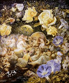 Fairies and a Fieldmouse (1885-1891), Etheline E. Dell watercolor & body color painting - #fairy #flower #mouse