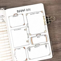 Bullet Journal Packing List for a Good Holiday Bullet Journal Packing List, Bullet Journal Planner, Bullet Journal Travel, Bullet Journal Inspo, Bullet Journal Spread, Bullet Journal Calendar Ideas, Journal Inspiration, Journal Ideas, Bujo