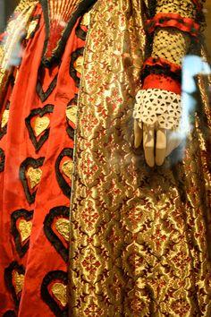 Alice in Wonderland Queen of Hearts costume detail. The Red Queen