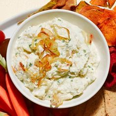 This French onion dip is made with Greek yogurt, which gives a creamy texture without adding too many calories.
