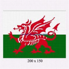 WELSH DRAGON FLAG CROCHET PATTERN GRAPH AFGHAN